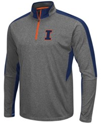 Colosseum Men's Illinois Fighting Illini Atlas Quarter Zip Pullover Charcoal Navy