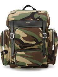 Saint Laurent Camouflage Backpack Green