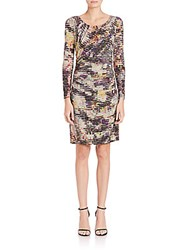 Kay Unger Printed Side Gathered Dress Multi