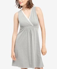 Motherhood Maternity Nursing Nightgown Heather Grey
