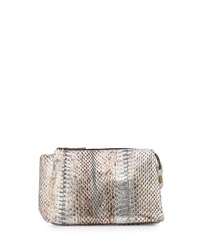 Beirn Large Watersnake Cosmetic Pouch Distressed Silver