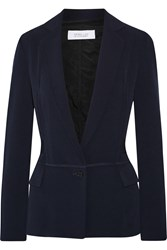 10 Crosby By Derek Lam Two Tone Organza Paneled Crepe Blazer Blue