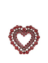 Lanvin Heart Crystal Embellished Brooch Red