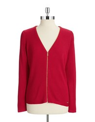 Calvin Klein V Neck Zip Up Cardigan Rouge