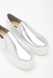 Forever 21 Faux Leather Platform Slip Ons Silver