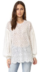 Zimmermann Karmic Embroidered Blouse Pearl