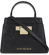 Kurt Geiger Mini Kate Ostrich Effect Leather Shoulder Bag Black