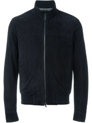 Herno Zip Front Leather Jacket Blue