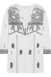 Maje Embroidered Cotton Tunic Top