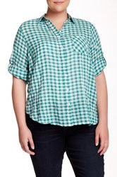 Sandra Ingrish 2 Pocket Gingham Blouse Plus Size Green