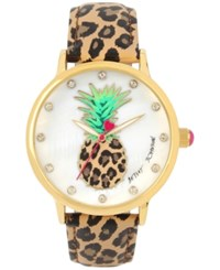 Betsey Johnson Women's Brown Leopard Printed Leather Strap Watch 42Mm Bj00496 60