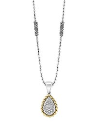 Lagos Sterling Silver And Diamond Teardrop Pendant Necklace With 18K Gold 16 Silver Gold