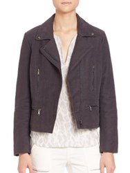 Joie Seabrooke Brushed Cotton Moto Jacket Steel