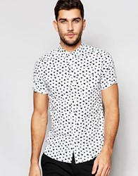 Asos Skinny Shirt In White With Triangle Print In Short Sleeve White