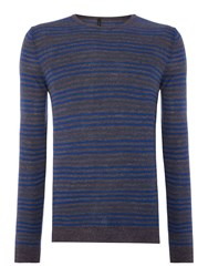United Colors Of Benetton Stripe Crew Neck Pull Over Jumper Cobalt