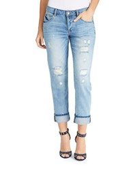 William Rast Mid Rise Faded Distressed Boyfriend Jeans Infinity Blue