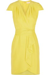 Matthew Williamson Waterfall Draped Silk Dress Yellow