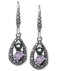Genevieve And Grace Sterling Silver Earrings Amethyst 3 4 Ct. T.W. And Marcasite Teardrop Earrings