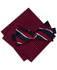 Tommy Hilfiger Men's Candy Stripe Bow Tie And Gingham Pocket Square Set Red