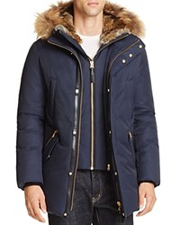 Mackage Edward Fur Trim Hooded Jacket Navy