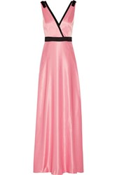 Raoul Delphine Embellished Wrap Effect Satin Gown Baby Pink