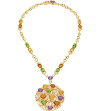 Bulgari Mediterranean Eden 18Ct Yellow Gold Necklace With Peridots Citrine Quartzes Amethysts Diamonds And Pave Diamonds