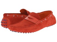 Etro Suede Penny Loafer Mocassin Red Men's Slip On Shoes