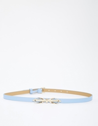 Ted Baker Skinny Bow Leather Belt Powderblue