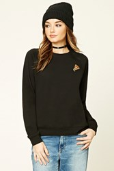 Forever 21 Pizza Patch Crew Sweater Black Yellow