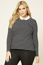 Forever 21 Plus Size Striped Collar Top Black White