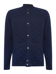 Long Sleeve Quilted Sweat Bomber Jacket Navy