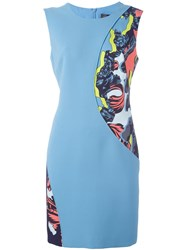 Versace 'Jagged Baroque' Panel Fitted Dress Blue