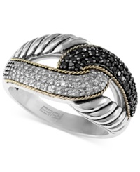 Effy Collection Balissima By Effy Black And White Diamond Ring 1 3 Ct. T.W In Sterling Silver And 18K Gold