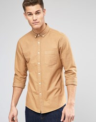 Asos Oxford Shirt In Camel With Long Sleeves In Regular Fit Camel Brown
