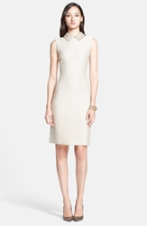 St. John Sparkle Float Knit Sheath Dress With Beaded Collar Gold Shimmer