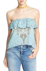 Women's Free People Mixed Print Strapless Top Blue Combo