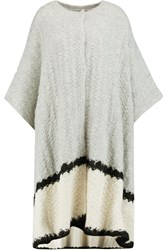 Elizabeth And James Oversized Textured Knit Cape Gray