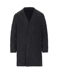 Raey Three Button Linen Blend Overcoat Dark Grey