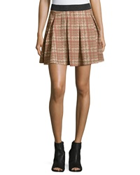 Romeo And Juliet Couture Plaid Print Pleated Skirt Beige Mult