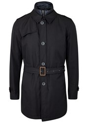 Herno Navy Twill Trench Coat