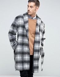 Asos Checked Overcoat With Belt In Black And White Black