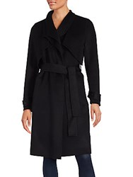 Zac Posen Long Sleeve Woolen Trench Coat Ebony