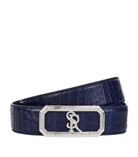 Stefano Ricci Crocodile Logo Buckle Belt Unisex Dark Blue