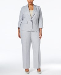 Le Suit Plus Size One Button Pinstriped Pantsuit Light Stone
