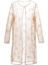Mary Katrantzou Glitter Long Cardigan In Floral Sable Nude And Neutrals