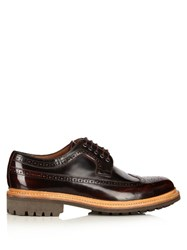 Grenson Sid High Shine Leather Brogues Burgundy