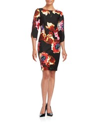 Gabby Skye Floral Sheath Dress Black Multi