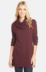 Petite Women's Caslon Side Slit Cowl Neck Tunic Burgundy Stem