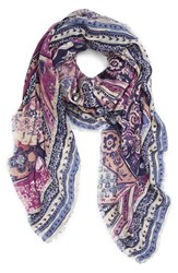 Hinge Women's 'Tapestry Patchwork' Scarf Blue Combo