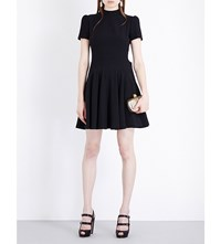 Alexander Mcqueen Open Back Crepe Mini Dress Black